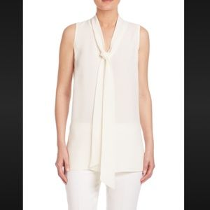 Lafayette 148 Georgette Silk Ivory Tie Dana Blouse